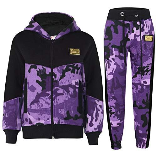 A2Z 4 Kids® Trainingsanzug für Jungen und Mädchen, A2Z, Camouflage-Muster, Kontrast-Panel, Kapuzenoberteil, Jogginganzug, Alter 5 6 7 8 9 10 11 12 13 Jahre Gr. 7-8 Jahre, Camo Purple