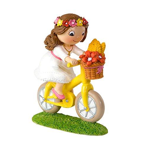 Mopec Figura de Pastel de Niña en Bicicleta, Poliresina, Blanco, 4.5x13.7x16 cm