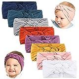 Makone Baby Headbands with Bows-Handmade Stretchy Nylon Pom Pom Bun 5.5 inch Big Hair Bow Headband...