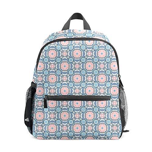 Backpack Student Bookbag for Kids Girls Boys,Coral Blush Pink Blue Floral Casual Daypack School Travel Bag Organizer Gift