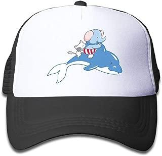 Cartoon Elephant Cat Riding Dolphin Mesh Baseball Cap Kids Adjustable Golf Trucker Hat