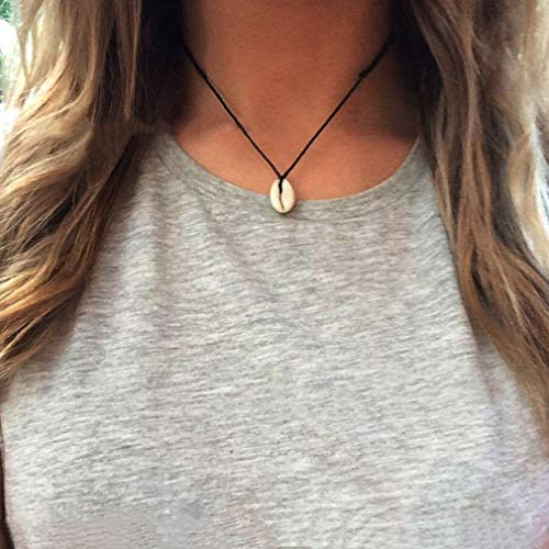 CAVIVIVIUK - Collar con colgante de concha bohemia, hecho a mano, joyería hawaiana, Línea de cera + concha., negro, As description
