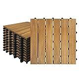 Aufun Holzfliesen Balkon 30 x 30 cm Akazien-Holz Terrassenfliese Balkonfliesen Klickfliese, Bodenbelag, Drainage, Garten Klick-Fliese, Modell A: 2m² (22 Stück)
