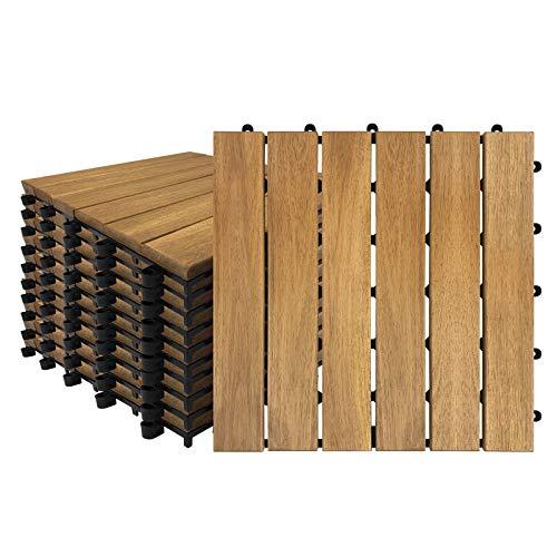 Aufun Baldosas de madera para balcón, 30 x 30 cm, madera de acacia, baldosas para terraza, balcón, suelo, drenaje, baldosas de clic, modelo A: 1 m² (11 unidades)