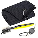 Mile High Life Microfiber Waffle Pattern Tri-fold Golf Towel | Brush Tool Kit with Club Groove Cleaner, Retractable Extension Cord and Clip (Black Towel+Yellow Brush)