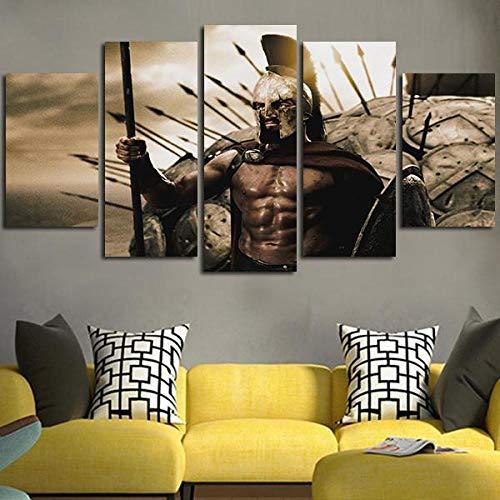 SZQY Impresión Artística 5 Piezas Cuadros Lienzo Modernos Murales Enmarcado Hogar Fondo Cabecera Decor Regalo 150×80Cm Esparta