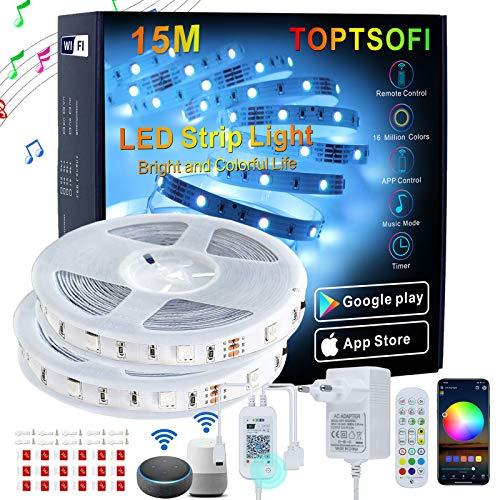 TOPTSOFI Luces LED Alexa 15m, Music Sync Tira LED RGB con Remote, APP WIFI controlada , Luces LED iluminacion para Decoracion Habitacion y Partido, Luz LED Adhesive Compatibles con Alexa, Google Home