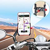 Support Telephone Moto Aluminium, 360° Rotatable Support Smartphone Scooter Fixation Téléphone Moto, Universel Support Téléphone Moto Rétroviseur pour iPhone Samsung Huawei (4-6.8'') (gris foncé)