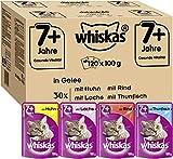 Whiskas 7 + Katzenfutter – Hochwertiges Nassfutter für gesundes Fell , Gemischte Auswahl in Gelee, 120 x 100g