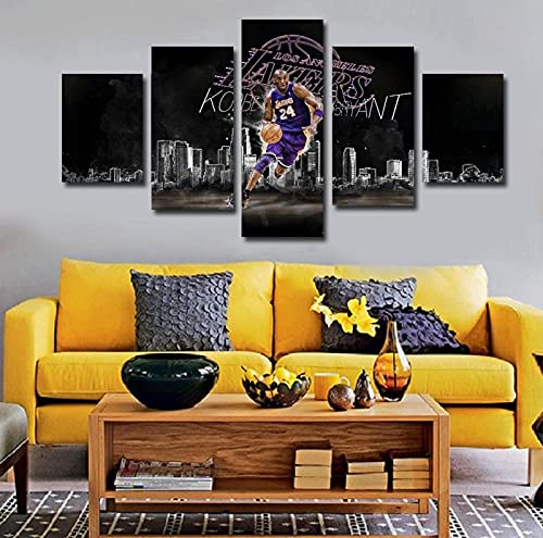 5 Pezzi Quadri Parete Arte Immagini Moderni Pittura Sfondo Quadro Grafica Decorazione Stampa Tela per Camera Letto Cucina Salotto Kobe Bryant Star Muro Poster di Incorniciati