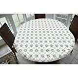 Geometric Polyester Fitted Tablecloth,Bohemian Aztec Culture Tribal Ornamental Rectangles in Pastel Tones Decorative Oblong Elastic Edge Fitted Table Cover,Fits Oval Tables 68x48