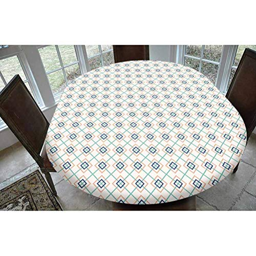 Geometric Polyester Fitted Tablecloth,Bohemian Aztec Culture Tribal Ornamental Rectangles in Pastel Tones Decorative Oblong Elastic Edge Fitted Table Cover,Fits Oval Tables 68x48' Mint Dark Blue Peach