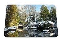 22cmx18cm マウスパッド (ハトレーパーク日本庭風景ブリッジ雪湖アーバー木) パターンカスタムの マウスパッド