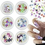 3D Butterfly Nail Charms,2-Color Rhinestones Nail Art Decals,Mixed with Flowers Crystals for Acrylic Nail Decoration,6 Box