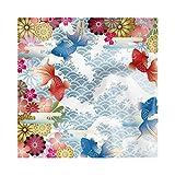 Lunarable Asian Decorative Satin Napkins Set of 4, Traditional Japanese Background with Soft Tone Koi Fish Floral Folk Design, Square Printed Party & Dinner Napkin, 18' x 18', Pastel Blue