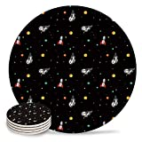 Set of 4 Coasters for Drinks, Absorbing Stone Cute Cat Astronaut and Rocket on Black Background Ceramic Round Coaster with Cork Base No Holder, for Housewarming Coffee Kitchen Room Bar Decor (4 Inch)