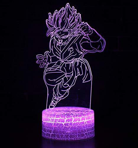 3D Lámpara óptico Illusions Luz Nocturna, CKW 7 Colores Cambio de Botón Táctil y Cable USB para Cumpleaños, Navidad Regalos de Mujer Bebes Hombre Niños Amigas (Dragon ball 7)