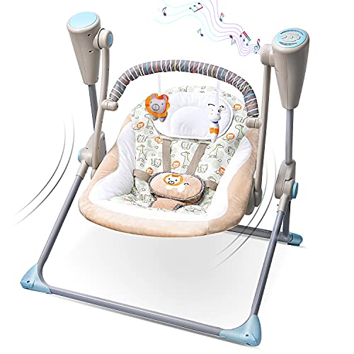 Electric Baby Swing, IECOPOWER Baby Bouncer Chair Rocker with Mosquito Net, Remote Control Newborn Cradle Swing with Soft Seat & Plush Toys, 5 Speed and 16 Melodies for Infant Babies - Khaki