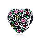 Charm a forma di cuore con valle di fiori, in argento Sterling 925, adatto per braccialetti Pandora da donna, regalo fai da te
