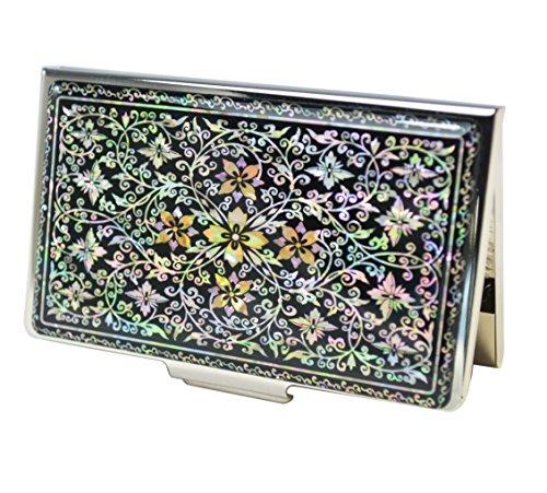 Design-Visitenkartenetui mit Perlmutt Dekoration, Zeichnung Efeu. Korean Luxus Handwerk. Hard Case Metall-Karte Geheusee