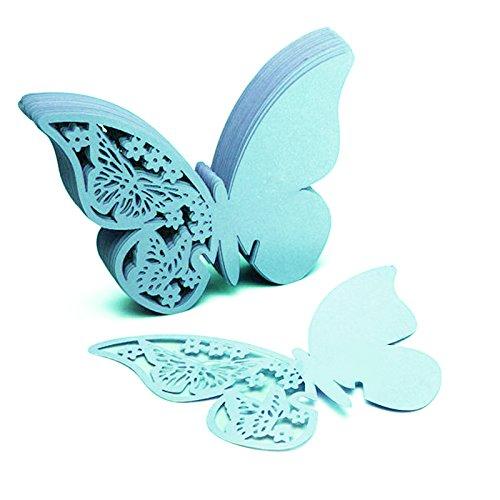Yunt–Set di segnabicchieri di carta a forma di farfalla, per matrimoni, battesimi, 50 pezzi, colore: bianco Bleue