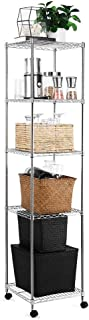 zanmini Storage Shelves, 5-Tier Multifunction Metal Wire Shelves with 4 Rolling Casters and 4 Leveling Feet, Flexible, Adjustable, Durable (13.58 x 13.58 x 60.63 inches)