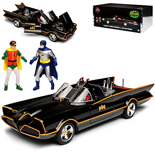Batmobil Classic TV Serie mit LED Licht und 2 Figuren Batman und Robin 1/18 Jada Modell Auto