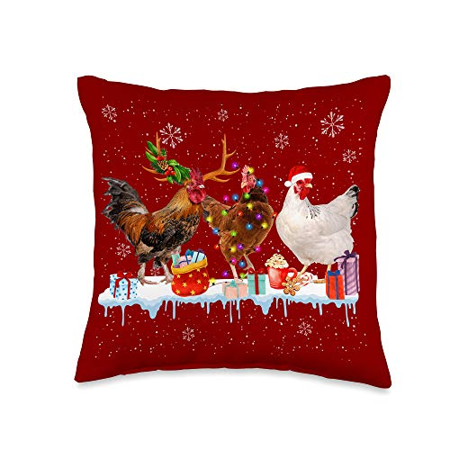 Merry Christmas Chicken Lover Farm Matching Gift Chickens Christmas Light Reindeer Santa Hat in Snow Xmas Throw Pillow, 16x16, Multicolor