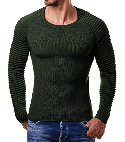 COOFANDY Men's Crew Neck Cable Knit Pullover Long Sleeve Sweater Winter