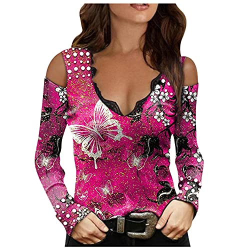 Bluse Damen Sexy T-Shirt Streetwear Sport Oberteile Sweatshirt Teenager Mädchen Tunika Tops, V Ausschnitt Für Frauen, Damen Tunika Top Langarm T Shirt Tunika Casual Lose Shirt Top Streetwear