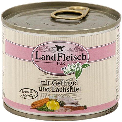 Landfleisch Pur Geflügel Lachsfilet | 12x195g Hundefutter