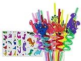 Reusable Dinosaur Straws-Plastic Drinking Straws for Kids Birthday Party Decorations-Dinosaur Birthday Party Supplies-Set of 30(24 Dinosaur Straws+6 Dinosaur Temporaty Tattoos)