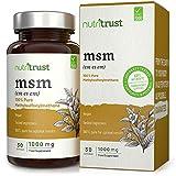 MSM 1000 mg Cápsulas de Nutritrust® - Methylsulfonylmethane 100% puro - Ingrediente probado por laboratorio y aprobado por el médico - Obtención a base de plantas y producción certificada GMP