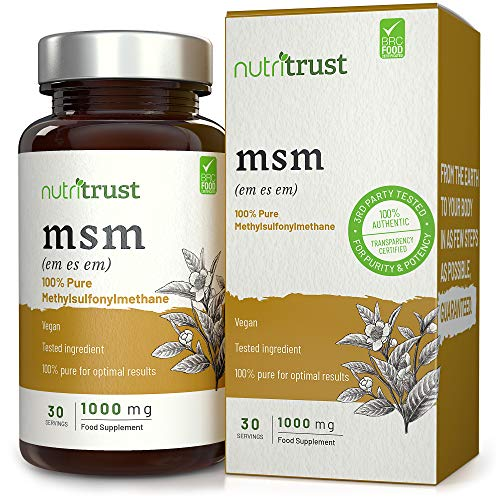MSM 1000 mg Capsules by Nutritrust - 100% Pure Methylsulfonylmethane from Vegan Sources - Lab Tested Ingredient & Doctor Approved Plant Based Sourcing & GMP Certified Production for Men & Women