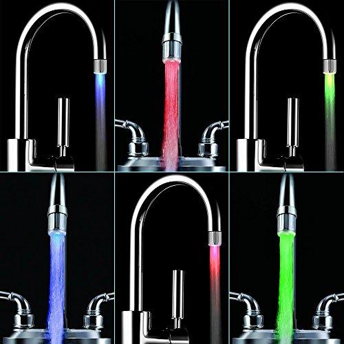 365-Shopping 2er Set Wasserhahn-Aufsatz mit automatischem Farbwechsler durch Wasserkraft – 7 LED Farbwechsler LED Shower mit Beleuchtung - 5