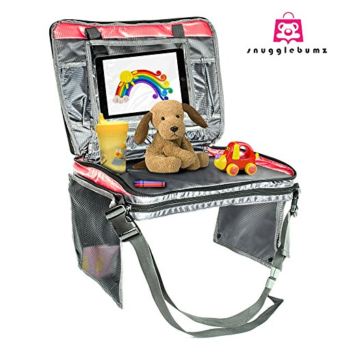 Car Seat Travel Tray by Snugglebumz. Snack, Play and stay Organized on the Go with our Premium Travel Tray featuring an iPad/Tablet Sleeve, Mesh Pockets, Cup Holder and More!