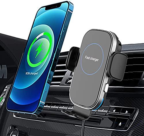 Qi 15W Cargador Inlámbrico Coche, Soporte Móvil Qi Wireless Car Charger Con Cable USB A+C A Tipo C Y Clip Universal Ventilado Automático Rápida Salida Para iphone Samsung Huawei