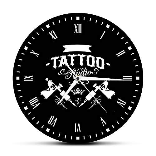 CVG Accesorios de Dormitorio Estudio de Tatuaje Máquina de Tatuaje Reloj de Pared Moderno Salón de Tatuajes Decoración de Tienda Reloj Redondo Negro Reloj Hipster Hombres Tatuador Regalo