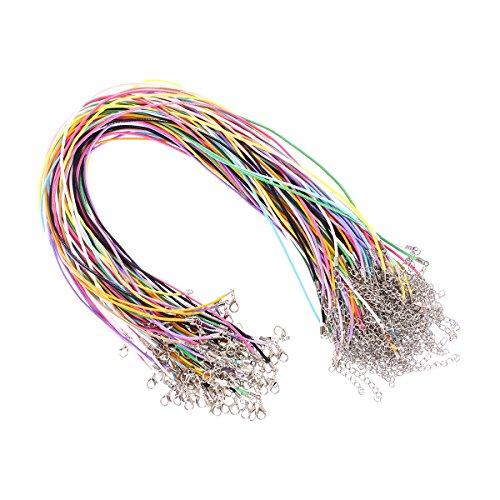KAIMENG 1.5 mm Cable de cera Cuerda trenzada de imitación de cuero con Cierre para la fabricación de joyas 100 unids (color de la mezcla)