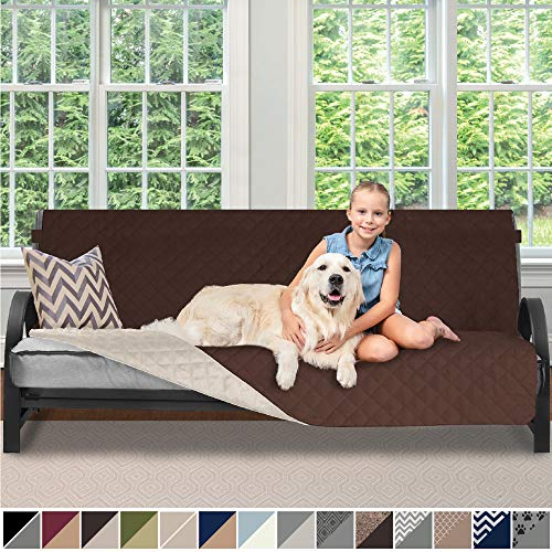 "Sofa Shield Original Reversible Couch Slipcover Furniture Protector, Seat Width Up to 70"", 2 Inch Strap, Machine Washable, Slip Cover Throw for Pets, Dogs, Kids (Futon: Chocolate/Beige)"