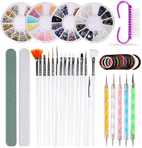 Kit de Herramientas de Manicura de Uñas, Queta 37pcs Juego de Diseño de Arte de Uña, con Herramientas/Pinceles/Pedrería/Pegatinas para el Arte y la Decoración de Uñas (TIPO-1)