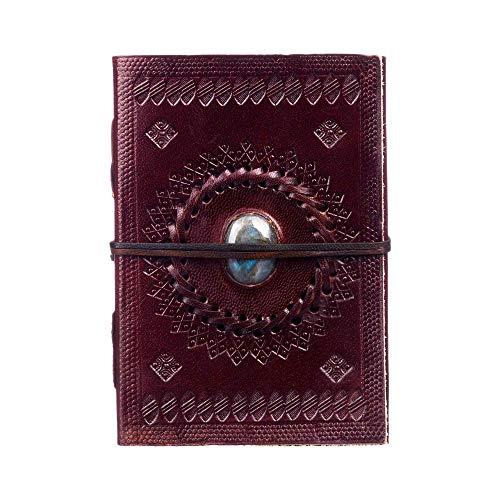 Fair Trade Indra Quaderno ricoperto in pelle 110 x 160 mm medio con goffratura e pietre semi-preziose