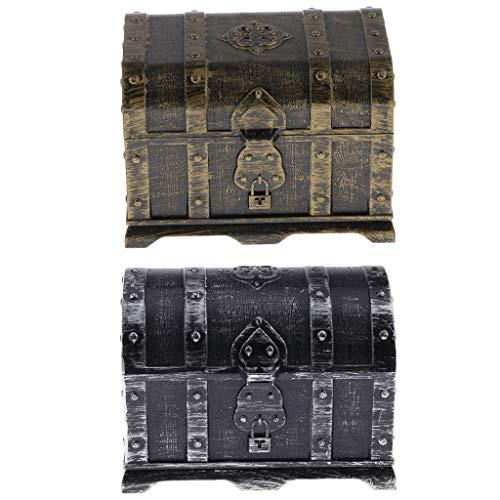 SM SunniMix Caja de Juguetes Pirata con Cofre Del Tesoro, Paquete de 2 Grandes Juguetes para Niños, 14 X 9,8 X 9,8 Cm