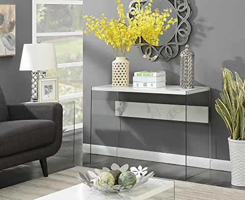 Convenience Concepts SoHo Console Table, Weathered Gray / Glass