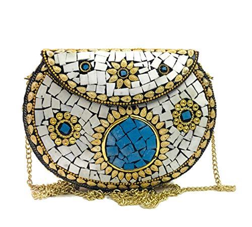 Piedras blancas embrague de metal indio étnico bolsa de metal embrague mosaico antiguo monedero bolso del partido para las mujeres caja de la boda bolso nupcial