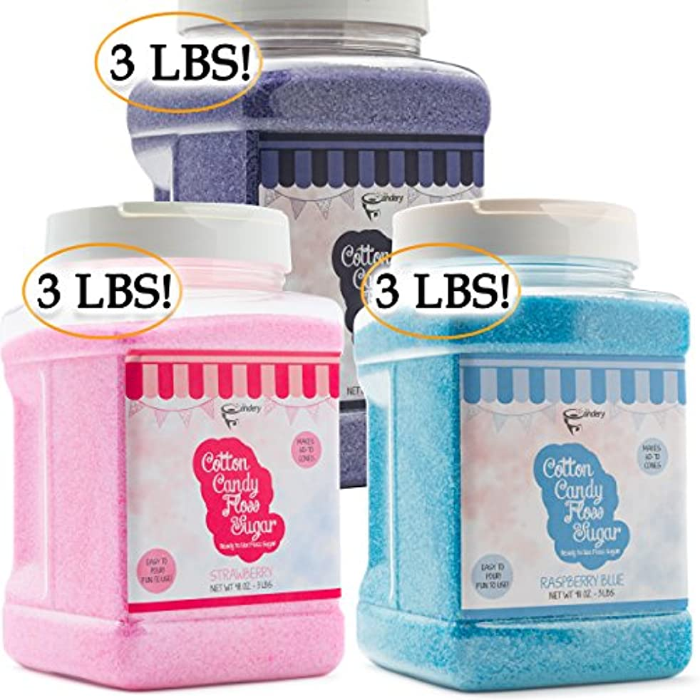 The Candery Cotton Candy Sugar FLoss 3lbs 3 Pack Premium Flavors (Grape, Raspberry,Strawberry)