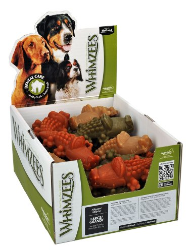 Paragon Whimzees Alligator Dental Chews for Large Dogs, 30 CT
