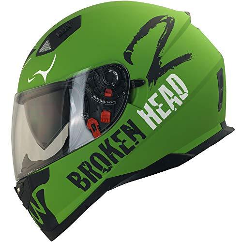 Broken Head Adrenalin Therapy VX2 - Motorrad-Helm Mit Sonnenblende - Military-Grün Matt - Größe M (56-57 cm)