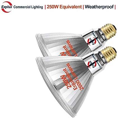 Explux 250W Equivalent Ultra Bright Dimmable Classic Full Glass PAR38 LED Flood Light Bulbs