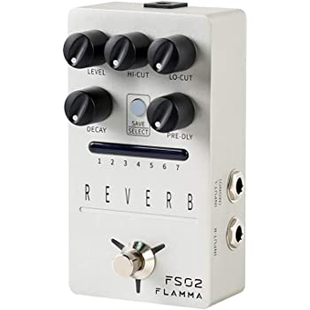FLAMMA FS02 Reverb Pedal Stereo Digital Guitar Pedal with 7 Storable Preset Slots Room Hall Church Cave Plate Spring Mod Reverb Buffer Bypass Trail On